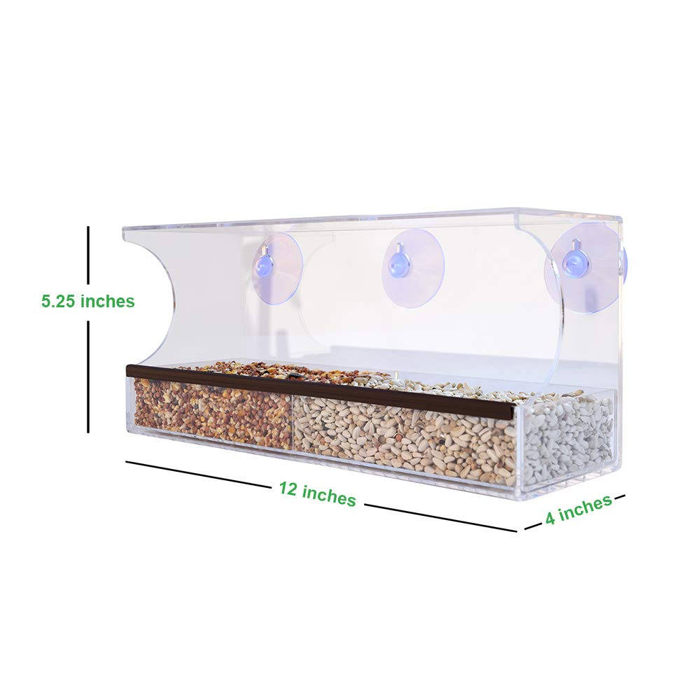 Gray Bunny GB-6850 Deluxe Clear Window Bird Feeder, Large Wild Birdfeeder Drain Holes, Removable Tray, Super Strong Suction Cups, Transparent Viewing, Covered, High Seed Capacity, Rubber Perch