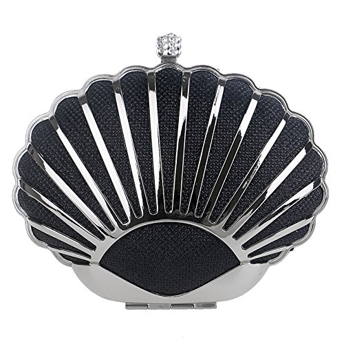 Handbag Handbag Black Seashore Metal Ladies Black Dress Evening and European Evening Elegant American Banquet wear wznE7Oq