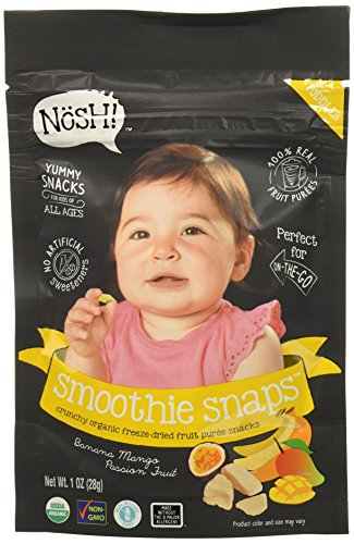 - Nosh Smoothie Snaps 100% Fruit Puree Freeze-Dried Toddler Snack Bites, 1 Ounce, Banana Mango Passion Fruit (Pack of 8)