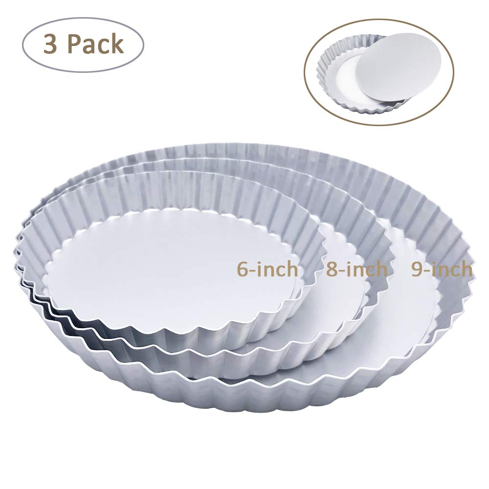 3 Pack(6, 8, 9 Inch) Tart Pan and Quiche Pan, Non-Stick Pan with Removable Base Bottom (Silver Color)