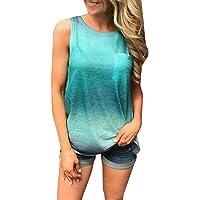 Women Tie Dye Vest,FAPIZI Summer Round Neck Gradient Printed T-Shirt Sleeveless Casual Loose Tunic Blouse