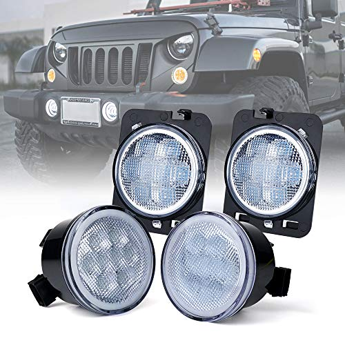 Xprite LED Clear Lens Turn Signal Lights with Halo DRL and Parking Function & Front Fender Side Marker Amber Light Assembly Replacement Combo for 2007-2018 Jeep Wrangler JK & Wrangler Unlimited