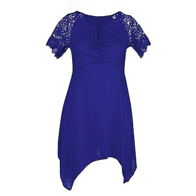 Creazy Women Plus Size S-5XL Women Irregular Hem Short Sleeve Loose Shirt (XXL, Blue)