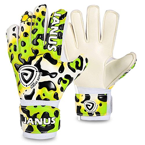 Coodoo Goalie Gloves with Fingersaves to Give Splendid Protection to Prevent Injuries, 3.5mm Strong Germany Supersoft Palm, Double Rip-Tab Strap, Size 4-7 Fit for Kids, Youth (Green Leopard, 5) (Keeper Soccer Control)