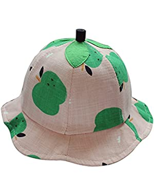 Plaid Sun Hat Baby Girl Boy Leaf Decor Summer Cotton Bucket Fisherman Beach Hat Cap