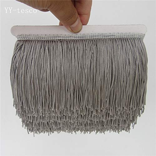 (Shoppy Star Wholesale 1 Yards Fringe Tassel Trimming Lace Latin Dress Macrame Samba Dance Clothing Lace Polyester Single Band 10cm Width: Gray)