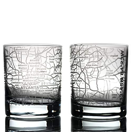 Greenline Goods Whiskey Glasses - 10 Oz Tumbler Gift Set for Atlanta Lovers | Etched with Atlanta Map | Old Fashioned Rocks Glass - Set of 2