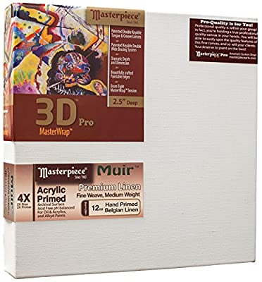 """Masterpiece Artist Canvas 46263 3D Pro 2-1/2"""" Deep, 30"""" x 60"""", Linen 12.0oz - 4X - Muir Acrylic Primed"""