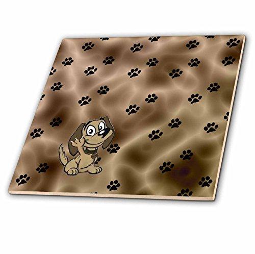 3dRose ct_52456_1 Puppy Paw Prints Ceramic Tile, 4