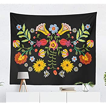 Darkchocl Bright Floral Pattern Decorative Tapestry Ethnic with Colorful Flowers Traditional Floral for Bedroom Living Kids Girls Boys Room Wall Hanging Tapestry 100% Polyester 80''L x 60''W