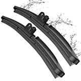 Wiper Blade, METO T6 24'' + 24'' Windshield Wiper : Water Repellency Polymer Materials Silence Blade, Up to 60% Longer Life (Set of 2)