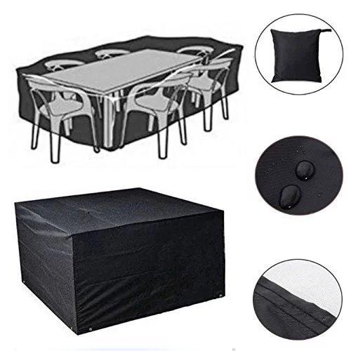 Feikai De plein air tout Météo Couverture Meubles, pluie étanche Couverture Jardin Cases Abri de patio en rotin Tables des chaises Cube Sofa Sets Protection (Noir S 123x123x74cm)