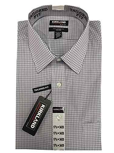 Kirkland Signature Men's Tailored Fit 100% Cotton Non-Iron Spread Collar Dress Shirt (17.5x34/35, Blue Grey Check)