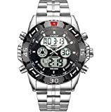 HPOLW Imported Big Face Stainless Steel Analog Digital Multifunction Sports Watch for Men & Boys