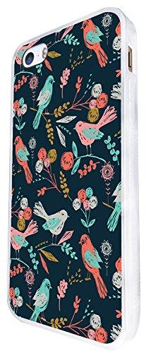 1173 - Floral Shabby Chic Retro Multi Birds Design iphone SE - 2016 Coque Fashion Trend Case Coque Protection Cover plastique et métal - Blanc