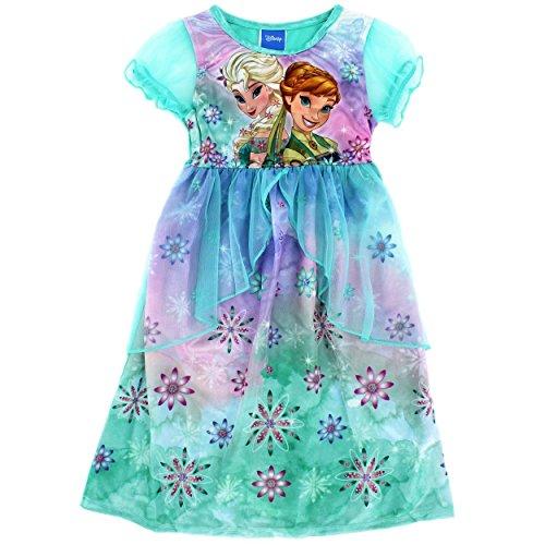 Disney Princess Girls Fantasy Nightgown Pajamas  6  Anna Elsa Green