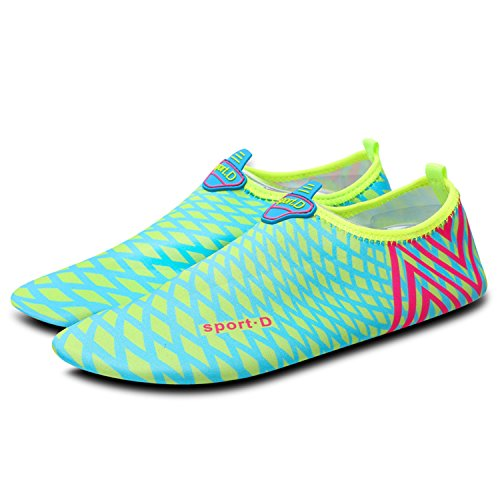 Heeta Water Shoes for Women Men Swim Barefoot Shoes Quick Dry Aqua Socks Pool Shoes for Beach Swim Yoga Dive Surf Beach Tennis Water Sports Light Blue XL from Heeta