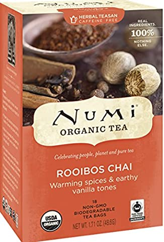 Numi Organic Tea Rooibos Chai, Caffeine Free Herbal Teasan, 18 Count non-GMO Tea Bags - Numi Black Organic Tea