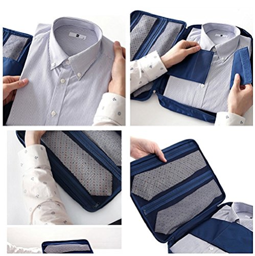 iSuperb Multi-function Shirt Organizer Travel Tie Storage Pouch Luggage Packing Bag for Men (Gray)