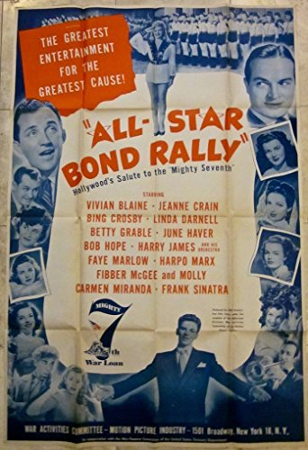 REDUCED ALL STAR BOND RALLY 1945 WAR ACTIVITIES COMMITTEE POSTER - MOVIE STAR ()