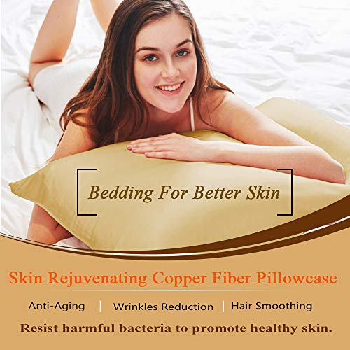 TALC Beauty Copper Pillowcase for Sleeping, Natural, Wrinkles Reduction & Hair Smoothing  Technology, Breathable and Comfortable Pillow Case(18.5x27.5inch)