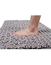 Yimobra Luxury Chenille Bath Mat, Soft Shaggy and Comfortable, Large Size, Super Absorbent and Thick, Non-Slip, Machine Washable, Perfect for Bathroom (80 x 50 cm, Gray)