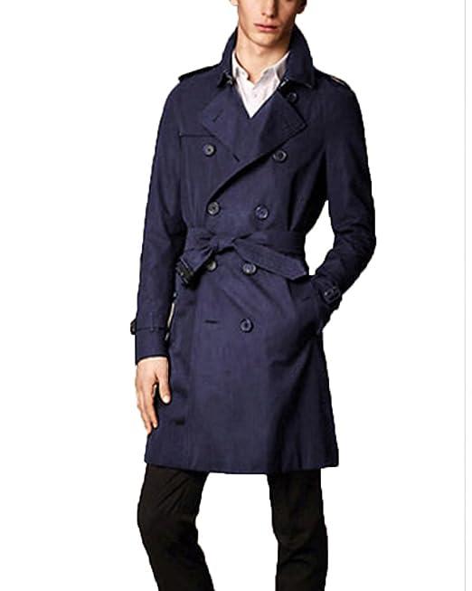 Hombres Doble Fila Botón Abrigo Chaqueta Jacket Outerwear ...