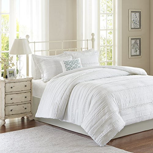 Madison Park Celeste Duvet Cover King/Cal King Size - White , Ruffle Stripes Duvet Cover Set - 4 Piece - Ultra Soft Microfiber Light Weight Bed Comforter Covers