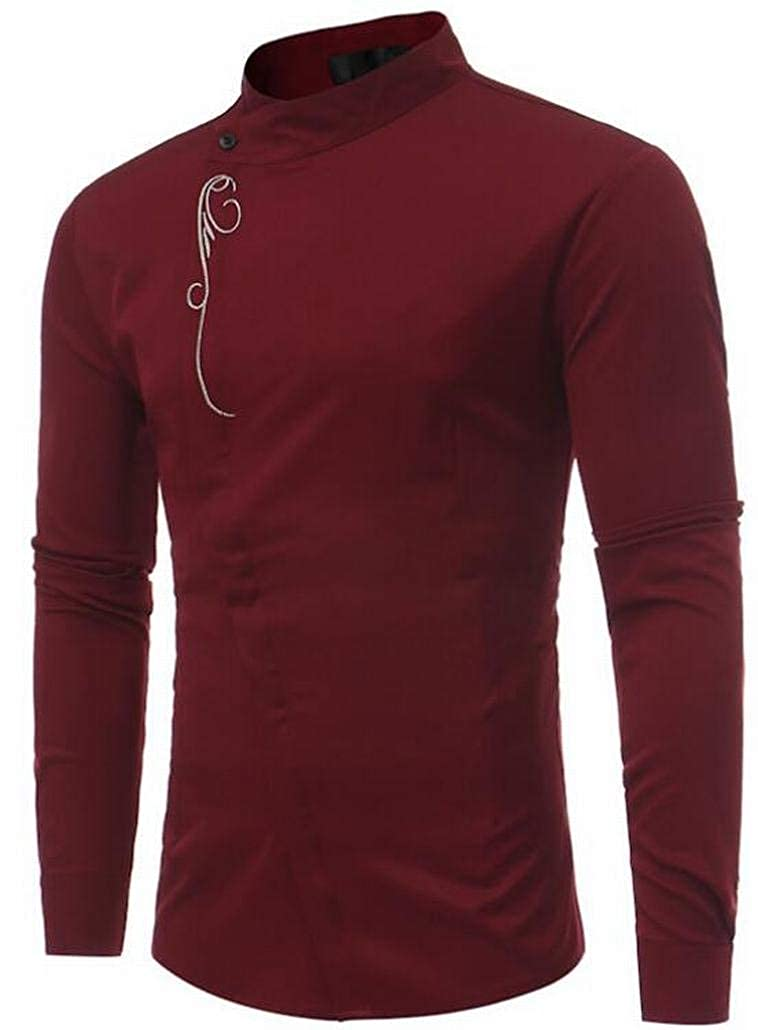 Alion Mens Casual Long Sleeves Arab Muslim Shirt