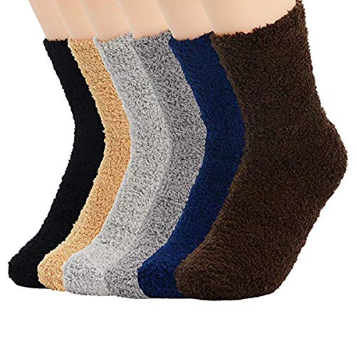 Century Star Womens Fluffy Plush Slipper Socks Thick Winter Home Sleeping Socks Microfiber Warm Slipper Crew Socks 6 Pairs Solid Color 03 One Size