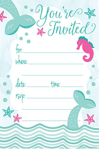 Mermaid Birthday Party Invitations - Fill In Style (20 Count) With Envelopes
