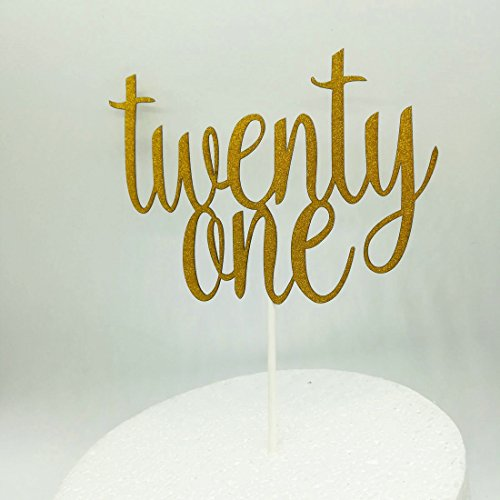 Paity Twenty one glitter cake topper, 21, birthday cake topper, glitter cake tooper, glitter topper, birthday decorations, cake decoration (Twenty-one)