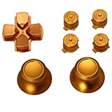 LIYUDL Metal Dpad Thumbstick Cap Bullet Buttons For Sony PS4 DualShock 4 Controller Kit Gold Color
