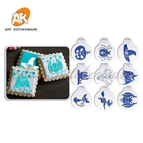 9pcs Halloween Witch Hat/Spider Stencil Cookies Decorating Stencil Fondant Stencil Tools Cupcake Decoration Tool Set ST-841 -