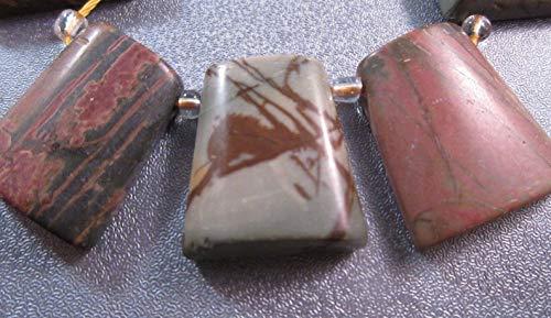 Red Creek Jasper Trapezoid Beads 3pcs #ID-1912