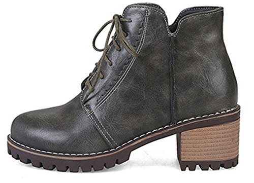 SHOWHOW Women's Casual Round Toe Lace Up Platform Martin Booties