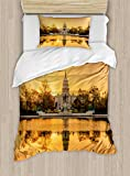 United States Duvet Cover Set by Ambesonne, Washington DC American Capital City White House above the Lake Landscape, 2 Piece Bedding Set with 1 Pillow Sham, Twin / Twin XL Size, Apricot Ginger