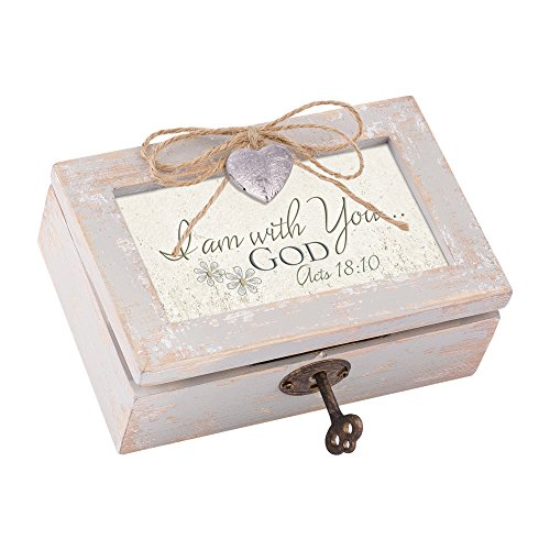 Cottage Garden I Am with You…God Distressed Wood Locket Jewelry Music Box Plays Tune Amazing Grace