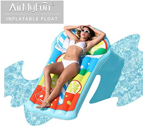 AirMyFun Inflatable Lemon Juice Giant Pool Float Inflatable Loungers and Floats for Adult & Kids Summer Pool LoungeLemon Tea Style