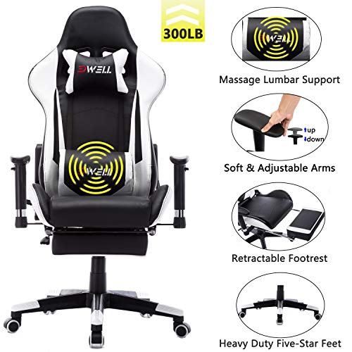 EDWELL Office Chair Gaming Chair with Footrest Computer Chair Desk Chair PU Leather Executive Ergonomic Adjustable Chair with Headrest and Lumbar Support (Black&White) EDWELL