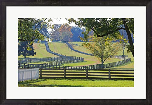 Stacked Split-Rail Fences in Appomattox, Virginia Framed Art Print Wall Picture, Espresso Brown Frame, 30 x 21 inches