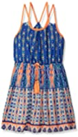 My Michelle Girls' Double Strappy V Back Printed Dress with Belt
