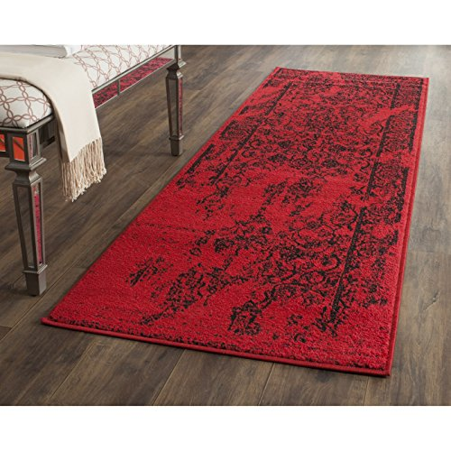 Safavieh Adirondack Collection ADR101F Red and Black Oriental Vintage Distressed Runner (2'6