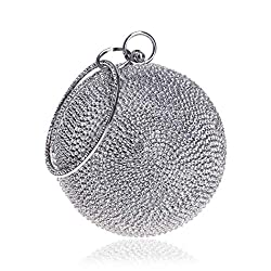 Ball Shape Clutch Purse With Silvery Rhinestone & Ring Handle