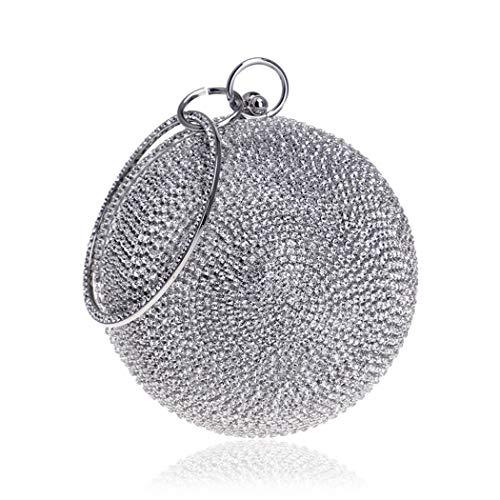 Tngan Ball Shape Clutch Purse Party Handbag Rhinestone Ring Handle Evening Bag