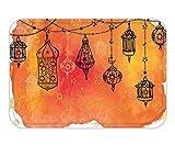 Minicoso Doormat Traditional Islamic Lanterns Garland Arabesque Middle Eastern Oriental Artwork Orange Vermilion Black