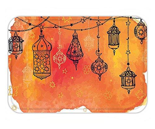Minicoso Doormat Traditional Islamic Lanterns Garland Arabesque Middle Eastern Oriental Artwork Orange Vermilion Black by Minicoso