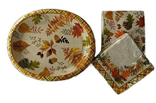 Thanksgiving Disposable Paper Plates and Napkins (50-10