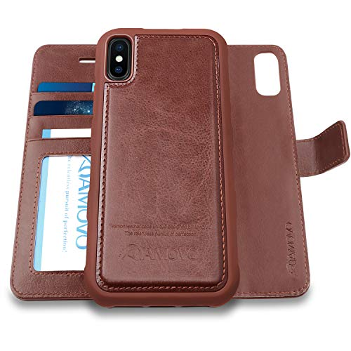 [Upgraded] AMOVO Case for iPhone Xs Max [2 in 1] iPhone Xs Max Wallet Case Detachable [Wireless Charging] [Vegan Leather] iPhone Xs Max Flip Case with Gift Box Package (XSMAX (6.5) Brown)