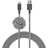 Native Union NIGHT Cable USB-C to USB-A - 10ft Ultra-Strong Reinforced Certified Charging/Sync Cable with Weighted Knot - Compatible with All USB Type-C Devices (Zebra)